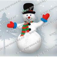Новогодняя надувная фигура. Снеговик в черной шляпе, фото 1