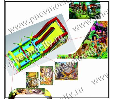 """Надувной батут с горкой """"Книга джунглей"""", фото 2"""