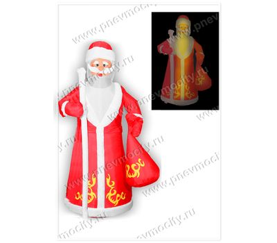 Новогодняя надувная фигура. Надувной Дед Мороз с посохом. С подсветкой., фото 1